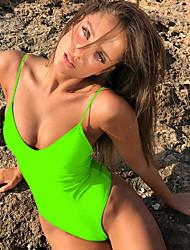 abordables -Femme Sportif Basique Vin Bleu Ciel Vert Véronèse Triangle Slip Brésilien Une-pièce Maillots de Bain - Couleur Pleine Dos Nu Lacet S M L Vin