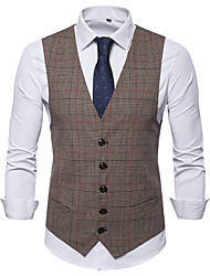 cheap -Poly&Cotton Blend Wedding / Daily Wear Vests / Work Plaid / Solid Color / Classic