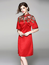 cheap -Adults' Women's Chinese Style Wasp-Waisted Dress Chinese Style Cheongsam Qipao For Engagement Party Bridal Shower Polyester / Linen Blend Polyster Knee Length Dress