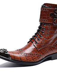 cheap -Men's Fashion Boots Nappa Leather Winter Casual / British Boots Warm Mid-Calf Boots Black / Brown / Party & Evening / Rivet / Party & Evening / Combat Boots