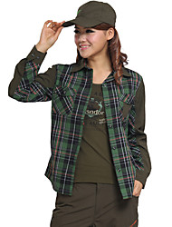 cheap -Women's Hiking Shirt / Button Down Shirts Long Sleeve Outdoor UV Resistant Breathable Quick Dry Ultra thin Top Autumn / Fall Spring Chinlon Camping / Hiking / Caving Traveling Indoor Army Green