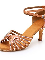cheap -Women's Satin Latin Shoes Crystal / Rhinestone Heel Slim High Heel Brown / Red / Blue / Performance
