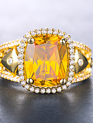 cheap -Women's Ring Cubic Zirconia Citrine 1pc Yellow Green Blue 18K Gold Plated Copper Geometric Stylish Luxury Aristocrat Lolita Gift Date Jewelry Hollow Out Love Cool