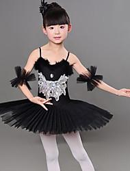 cheap -Kids' Dancewear Ballet Dress Split Joint Crystals / Rhinestones Paillette Girls' Training Performance Sleeveless Mesh Polyester