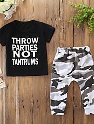 cheap -Baby Boys' Active / Basic Print Print Short Sleeve Regular Cotton Clothing Set Black / Toddler