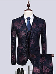 cheap -Tuxedos Tailored Fit / Standard Fit Notch Single Breasted Two-buttons Wool / Polyester Solid Colored