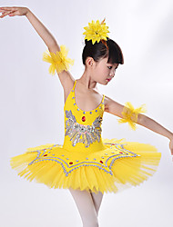 cheap -Kids' Dancewear / Ballet Outfits / Tutus & Skirts Girls' Training / Performance Polyester / Mesh Split Joint / Crystals / Rhinestones / Paillette Sleeveless Dress / Bracelets
