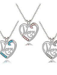 cheap -Women's Cubic Zirconia Pendant Necklace Monogram Name Heart Letter Fashion Modern Cute Chrome Imitation Diamond White Blue Pink 45+5 cm Necklace Jewelry 1pc For Daily Going out Birthday