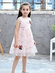 cheap -Kids Girls' Floral Mesh Knee-length Dress White