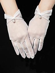 cheap -Tulle Wrist Length Glove Pearl Trim Edge / Elegant With Acrylic Diamond / Faux Pearl / Pendant