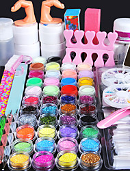 cheap -Nail Designs 2020 All In One 96 Pcs Nail Acrylic Kits Powder Sets False Nail UV Gel Decorations Basic Nail Art Tools Professional Best Quality In Stock
