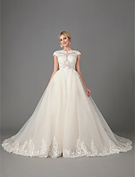 cheap -Princess / Mermaid / Trumpet Jewel Neck Chapel Train Lace / Tulle Short Sleeve Sparkle & Shine Made-To-Measure Wedding Dresses with Beading / Appliques 2020