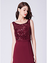 cheap -A-Line Bateau Neck Floor Length Satin / Sequined Bridesmaid Dress with Sequin / Open Back