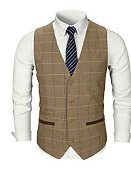 cheap -Men's Daily Basic Fall Regular Vest, Striped / Solid Colored V Neck Sleeveless Polyester Dark Gray / Khaki / Light gray
