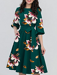 cheap -Women's Green Black Dress Elegant A Line Floral S M