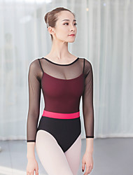 cheap -Ballet Leotards Women's Training / Performance Cotton / Elastane / Vicose Split Joint Long Sleeve Leotard / Onesie