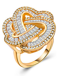 cheap -Women's Statement Ring Cubic Zirconia 1pc Yellow 18K Gold Plated Copper Unique Design European Trendy Gift Date Jewelry Hollow Out Heart Cute Heart