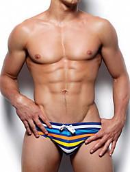 abordables -Homme Taille EU / US Bleu Slip Brésilien Bas Maillots de Bain - Rayé L XL XXL Bleu