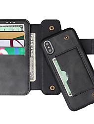 cheap -Phone Case For Apple Full Body Case Wallet Card iPhone XR iPhone XS iPhone XS Max iPhone X iPhone 8 Plus iPhone 8 iPhone 7 Plus iPhone 7 iPhone 6s Plus iPhone 6s Wallet Card Holder with Stand Solid