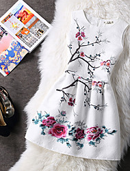cheap -Women's White Dress Basic A Line Floral Print S M Slim