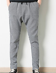 cheap -Men's Basic Daily Slim Chinos Pants - Houndstooth Patchwork Black Red Army Green L XL XXL