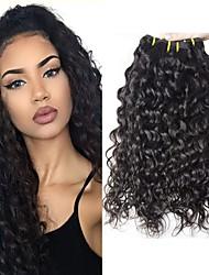 cheap -6 Bundles with Closure Brazilian Hair Water Wave Virgin Human Hair Natural Color Hair Weaves / Hair Bulk Bundle Hair One Pack Solution 8-28inch Natural Color Human Hair Weaves Cute Fashionable Design