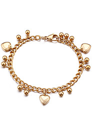 cheap -Women's Chain Bracelet Vintage Bracelet Classic Heart Ball Simple Classic Vintage Fashion Ancient Rome Rose Gold Bracelet Jewelry Gold / Silver For Christmas Wedding Party Gift Daily / Titanium Steel