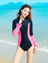 cheap -YOBEL Men's One Piece Swimsuit Patchwork Bodysuit Swimwear Black / Pink Quick Dry Comfortable Long Sleeve - Swimming Autumn / Fall Spring