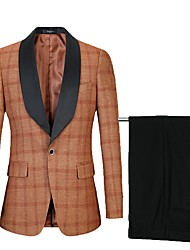 cheap -Tuxedos Standard Fit Shawl Collar Single Breasted One-button Polyster Plaid / Checkered / Color Block