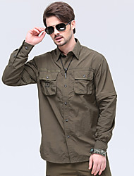 cheap -Men's Hiking Shirt / Button Down Shirts Long Sleeve Outdoor Sunscreen Breathable Quick Dry Wear Resistance Convert to Short Sleeves Top Autumn / Fall Spring Chinlon Camping / Hiking / Caving / Winter