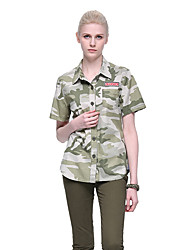 cheap -Women's Camo Hiking Tee shirt Short Sleeve Outdoor Breathable Quick Dry Sweat-wicking Comfortable Tee / T-shirt Top Autumn / Fall Spring Cotton Camouflage Camping / Hiking / Caving Traveling