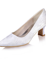 cheap -Women's Wedding Shoes Block Heel Square Toe Minimalism Wedding Party & Evening Lace Lace Floral White Blue Pink