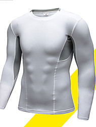 cheap -Men's Compression Shirt Long Sleeve Compression Base layer T Shirt Top Plus Size Lightweight Breathable Quick Dry Soft Sweat-wicking Black White Fleece Lycra Winter Road Bike Mountain Bike MTB Running