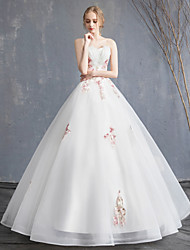 cheap -A-Line Strapless Maxi Lace / Organza / Tulle Strapless Beautiful Back Made-To-Measure Wedding Dresses with Beading / Appliques 2020