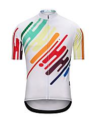 cheap -Men's Short Sleeve Cycling Jersey White Rainbow Bike Jersey Top Sports Terylene Clothing Apparel / High Elasticity