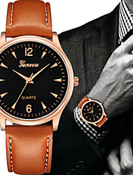 cheap -Men's Dress Watch Quartz Leather Black / Brown Chronograph Casual Watch Lovely Analog Bangle Minimalist - Black Brown Rose Gold One Year Battery Life / SSUO 377