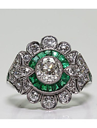 cheap -Women's Ring Cubic Zirconia 1pc Green Brass Geometric Fashion Party Daily Jewelry Classic Flower Cool
