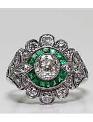 Недорогие -Жен. Кольцо Цирконий 1шт Зеленый Латунь Геометрической формы Мода Для вечеринок Повседневные Бижутерия Классический Цветы Cool