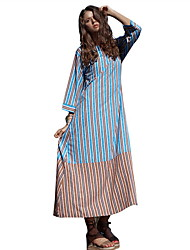 cheap -Women's Maxi Blue Dress Elegant Boho Shift Striped S M Loose