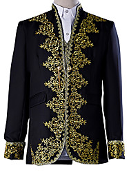 cheap -Prince Cosplay Costume Blazer Jacket & Pants Tuxedo Tailcoat Men's Baroque Medieval 18th Century Masquerade Halloween Carnival Festival / Holiday Lace Polyester Black / White Men's Carnival Costumes