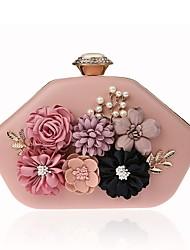 abordables -Femme Appliques / Détail Perle Alliage Pochette Floral / Botanique Rouge / Rose Claire / Fuchsia / Automne hiver
