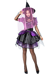 cheap -Witch Dress Cosplay Costume Hat Adults' Women's Dresses Halloween Halloween Carnival Masquerade Festival / Holiday Tulle leatherette Purple Carnival Costumes Patchwork