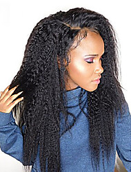 cheap -Remy Human Hair Human Hair Lace Front Wig Side Part style Brazilian Hair Straight kinky Straight Wig 250% Density with Baby Hair Thick Natural Hairline African American Wig For Black Women Natural