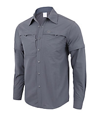 cheap -Men's Hiking Shirt / Button Down Shirts Long Sleeve Outdoor UV Resistant Breathable Quick Dry Sweat-wicking Convert to Short Sleeves Shirt Top Autumn / Fall Spring Polyester / Cotton Blend Army Green