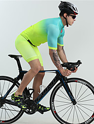 cheap -BOESTALK Men's Short Sleeve Cycling Jersey with Shorts Spandex Green Bike Clothing Suit Quick Dry Ultraviolet Resistant Moisture Wicking Sports Fashion Mountain Bike MTB Road Bike Cycling Clothing