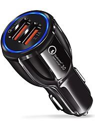 Недорогие -быстрое автомобильное зарядное устройство qc 3.0 адаптер 9v / 3.1a с двумя usb-портами и синим светом совместимо с ios и android смартфонами