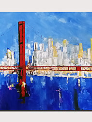 cheap -Oil Painting Hand Painted - Abstract Landscape Classic Modern Stretched Canvas