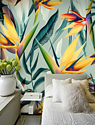 cheap -Colorful Tropical Leaf Wallpaper Mural Canvas Wall Covering