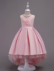 cheap -Princess Asymmetrical Wedding / Party / Pageant Flower Girl Dresses - Satin / Tulle Sleeveless Jewel Neck with Lace / Belt / Crystals
