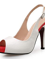cheap -Women's Sandals Stiletto Heel Peep Toe Button Faux Leather Minimalism Summer Black / White